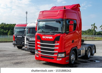 SERDANG, MALAYSIA - OCTOBER 10, 2019. The new Scania trucks display at the showroom in Serdang, Selangor.