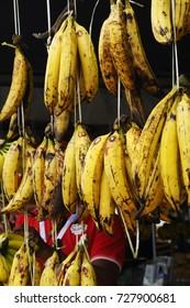 SERDANG, MALAYSIA -SEPTEMBER 30, 2017: Harvested banana fruit by farmers. It is display open at market for sale to attract costumers.