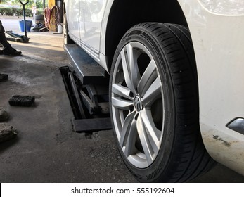 Serdang, Selangor. January 6, 2017. A Volkswagen Passat car in a workshop for tires replacement.