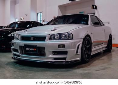 Serdang, Selangor - July 27 2019: Nissan Skyline GTR R34 at Art Of Speed 2019 event, Malaysia