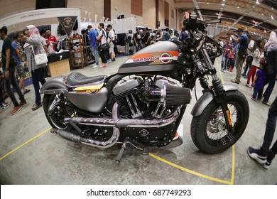 SERDANG, SELANGOR, MALAYSIA - JULY 29, 2017: Art of Speed in Malaysia. The biggest automotive event include motorcycle and cars. The Harley-Davidson Motorcycle.