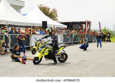 SERDANG, SELANGOR, MALAYSIA - JULY 30, 2017 : Art of Speed in Malaysia. Honda Stunt man show. The biggest automotive event including motorcycle and cars.