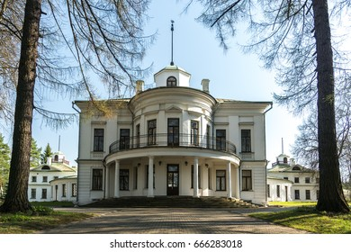 Serednikovo manor in classical style in the Moscow region. The main building with the darker side