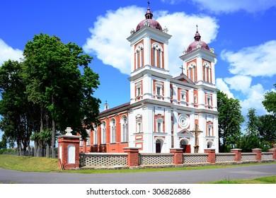 SEREDZIUS, LITHUANIA - JUNE 27: Seredzius red bricks Church on summer time on June 27, 2015, Seredzius, Lithuania.