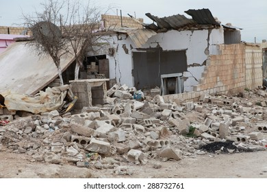 SEREKANIYE, SYRIA-MARCH 22: View of war damage from Serekaniye. Syrian war plane bombed Serekaniye. The Photo Taken, March 22, 2013.