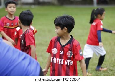 Seremban, January 21, 2021. The children's football team is training on the field.