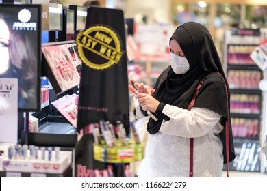 Seremban, Malaysia - 19/8/2018 : A young girl at the Watsons store, Asia's leading health and beauty retailer, operating over 6800 stores and 1500 pharmacies in 12 Asian and Europe market