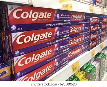 SEREMBAN, MALAYSIA. 23 JULY 2017.Colgate is a brand of toothpaste produced by Colgate-Palmolive