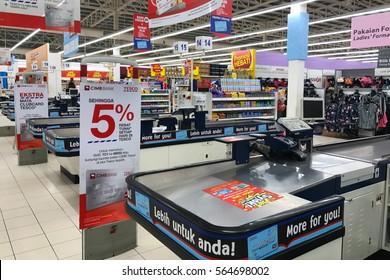 SEREMBAN, MALAYSIA. 29 NOVEMBER 2016. Cash desk in Tesco Supermarket
