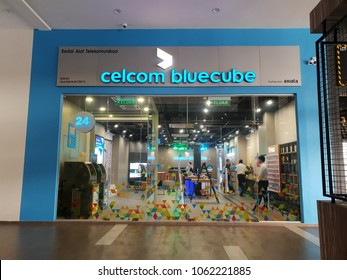 Seremban, Malaysia - 5/4/2018 : CELCOM Blue Cube at Seremban Gateway. Celcom Axiata Berhad, DBA Celcom, is the oldest mobile telecommunications provider in Malaysia