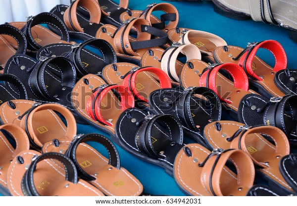 SEREMBAN, MALAYSIA -APRIL 15, 2017: Malay traditional sandals for men. It is handcrafted using animal skins.