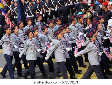 SEREMBAN, MALAYSIA -AUGUST 31, 2016: Youth scout were marching during the Malaysia national day celebrations at Seremban, Malaysia.