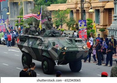 SEREMBAN, MALAYSIA -August 31, 2017: Armored Fighting Vehicle or AFV belonging to the Royal Malaysian Armed Forces during Merdeka Parade. The vehicle is equipped with automatic weapons.