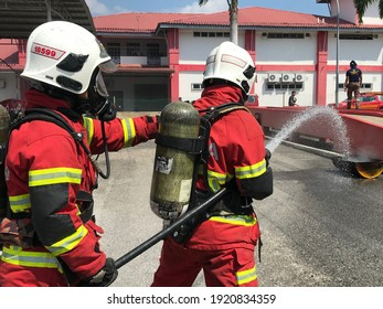 Seremban, Malaysia, February 17, 2021- Special Fire Department of the Fire and Rescue Department of Malaysia, conducts training to improve skills for firefighters
