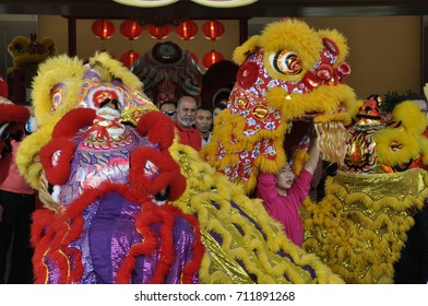 SEREMBAN, MALAYSIA -FEBRUARY 2, 2017: Lion dance performance during Chinese New Year Festival at Seremban, Malaysia. It was a traditional and cultural dance by Chinese in the past.