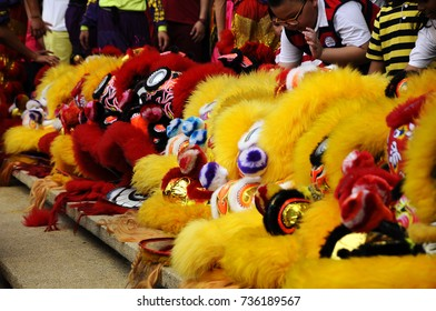 SEREMBAN, MALAYSIA -FEBRUARY 2, 2017: Chinese lion mask or lion head used to performed lion dance during Chinese New Year Festival at Seremban, Malaysia.