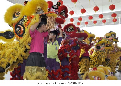 SEREMBAN, MALAYSIA -FEBRUARY 2, 2017: Lion dance performance during Chinese New Year Festival at Seremban, Malaysia. It is a traditional and cultural dance by Chinese.