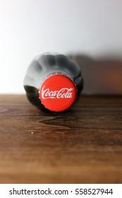 SEREMBAN, MALAYSIA - JAN 18, 2017: bottle caps can of Coca-Cola Classic
