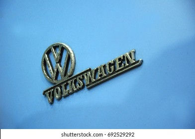 SEREMBAN, MALAYSIA -MAY 21, 2016: Emblem of Vintage Volkswagen beetle car. Old car comes from 60's. Refurbish by owner and its collector.