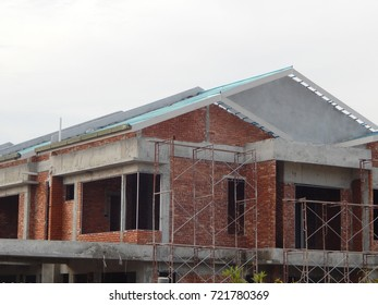 SEREMBAN, MALAYSIA -SEPTEMBER 23, 2017: Double story luxury terrace house under construction in Seremban, MAlaysia.