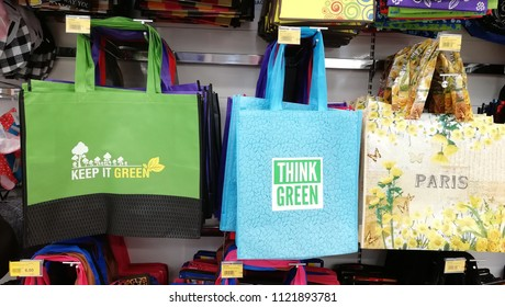 Seremban, Malaysia-Jun 22, 2018: Tote reusable shopping bag at Giant Hypermarket. Malaysia has embarked on National Waste Minimization Study to formulate master plan on implementation of 3R.