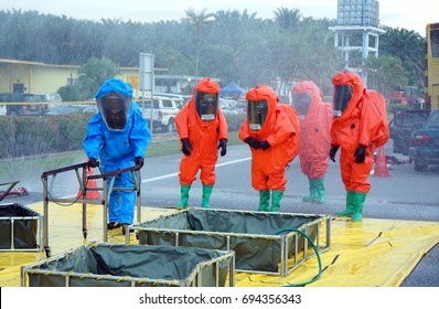 Seremban, Malaysian - July, 2017 : Firefighter special unit chemical HAZMAT training to enhance the effectiveness of current accident