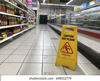 SEREMBAN,MALAYSIA. 16 JUNE 2017. Yellow caution wet floor sign in the shopping mall