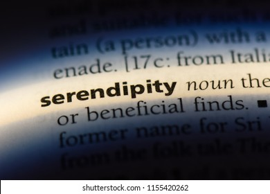 serendipity word in a dictionary. serendipity concept.