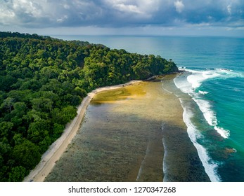 Serene Beach with Green Water Viewed from Above, Pangandaran, West Java, Indonesia