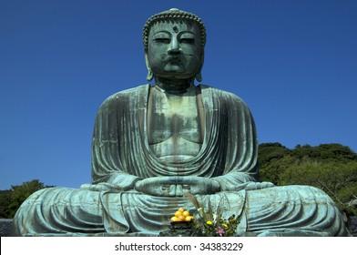 Serene Buddha located in Kamakura Prefecture, Japan