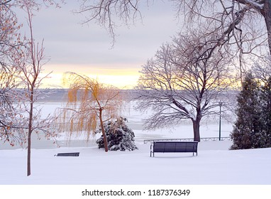 Serene cold winter setting for your wintery background