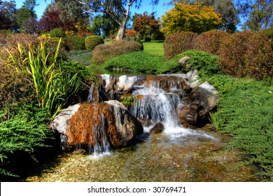 Serene Garden with greens and running water