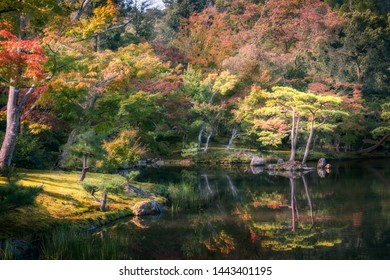 Serene Japanese Garden in autumn in the morning with reflections in the pond's water at the Golden Pavilion in Kyoto, Japan.