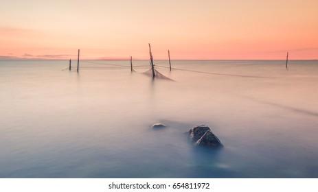 serene lake fishing sunset