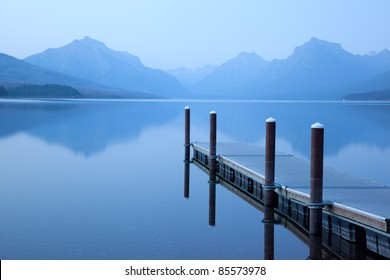 Serene Lake Scene with Floating Dock (Lake McDonald, Glacier National Park)
