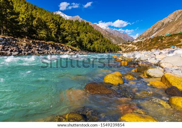 Serene Landscape of Baspa river valley near Chitkul village in Kinnaur district of Himachal Pradesh, India. It is the last inhabited village near the Indo-China border.