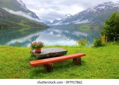 Serene landscape in Norway - Nordfjord view in Olden.
