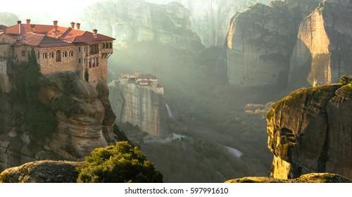 Serene morning in impressive Meteora monasteries. Central Greece