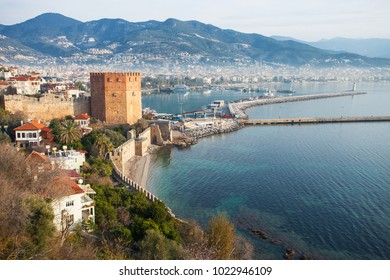 Serene panoramic view of old part of Alanya town