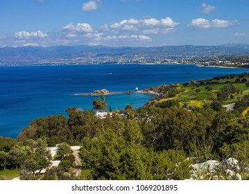 Serene view of coastline of Mediterranean sea, Akamas Peninsula National Park in Cyprus
