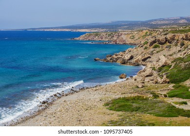 Serene view of coastline of Mediterranean sea in Cyprus