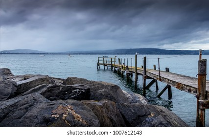 Serene Wooden Pier in Blue Waters after the Storm, Holywood, Northern Ireland