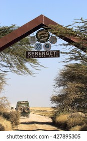 SERENGETI NATIONAL PARK, TANZANIA - JUNE 08: Entrance gate to the Serengeti National Park on June 08, 2013 in Serengeti National Park. Serengeti hosts the world largest terrestrial mammal migration