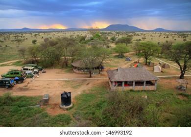 SERENGETI, TANZANIA - CIRCA SEPTEMBER 2012.  Looking down upon the Pimbi safari camp in the Serengeti, Tanzania during September 2012.