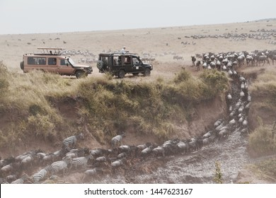 Serengeti/Tanzania - 01/12/2019  people are inside the car while they enjoy safari trip in the serengeti