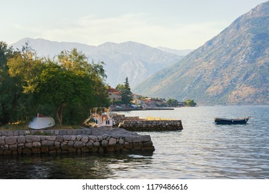 Serenity . Beautiful Mediterranean landscape. Montenegro . View of Bay of Kotor ( Adriatic Sea ) and seaside town of Prcanj