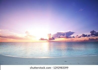Serenity Maldives beach at sunrise