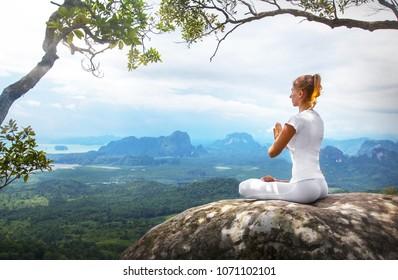 Serenity and yoga practicing meditation
