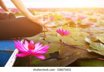 serenity and yoga practicing on the red lotus sea,Thailand