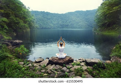 serenity and yoga practicing at Twin Lakes,Philippines